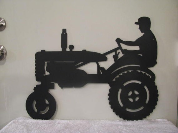 Metal Art Tractor : Farmer on tractor metal wall yard art silhouette by