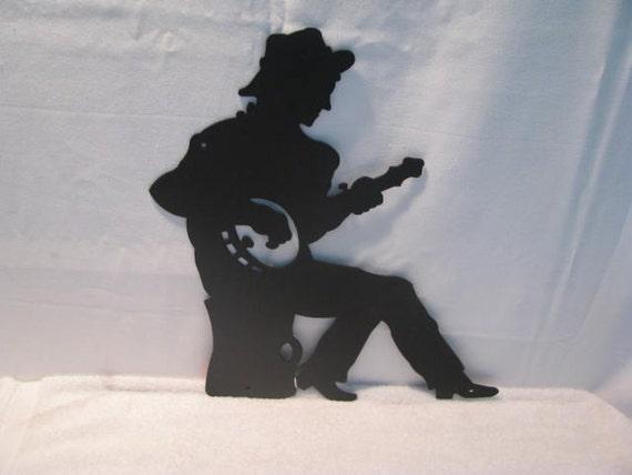 Banjo Player Metal Wall Yard Art Silhouette