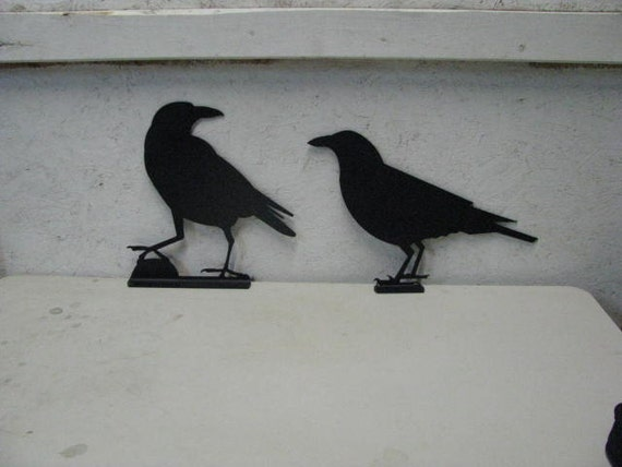 Raven Crow 001 and 002 Mailbox Topper Metal Wildlife Wall Yard Art Silhouette Set of Two