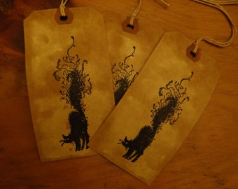SET of 3 Large Primitive Halloween BLACK CAT Hang Tags