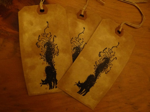 SET of 3 Large Primitive Halloween BLACK CAT Hang Tags