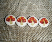 Spotty Mushrooms - Set of 4 Fabric Covered Buttons