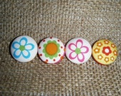 Flower Fabric Covered Buttons - Set of 4 Funky Florals