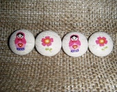 Pretty Pink Matryoshkas - Set of 4 Fabric Covered Buttons