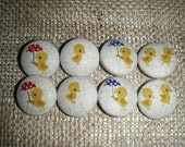 RESERVED for Tracie - Chicks - Set of 8 Fabric Covered Buttons