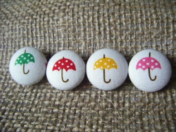 It's Raining Dots - Set of 4 Fabric Covered Buttons