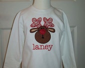 Personalized Christmas Rudolph Reindeer Applique Long Sleeve Shirt Boy or Girl
