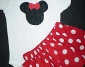 Infant Red Minnie Mouse Onesie and Skirt Outfit