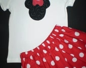 Minnie Mouse Red T shirt and Skirt 2 pc Outfit