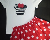 Minnie Mouse Zebra and Red T shirt and Skirt Outfit Sizes