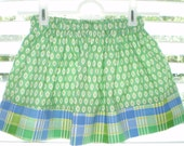 Green and Blue Print and Plaid Twirl Skirt