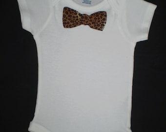 Cheetah Print Bow Tie Onesie