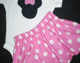 Pink Minnie Mouse Onesie and Skirt Outfit