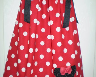 Girls Red Minnie Mouse Appliqued  Dress