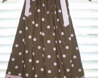 Pillowcase Dress CLEARANCE SALE 14.00 Brown and Pink Polka Dot 18M Only