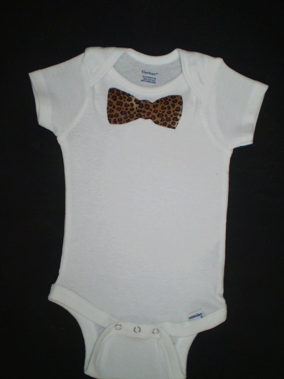 cheetah print bow tie onesie by pompomsandpigtails on etsy