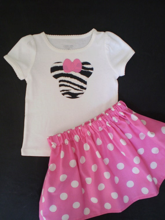 Girls Zebra and Pink  Minnie Mouse T shirt and Skirt Outfit