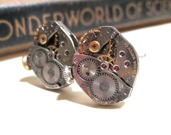 Steampunk Vintage BULOVA Watch Movement Cuff Links - 17 Jewel Ruby - Barrel - Cufflinks - Soldered
