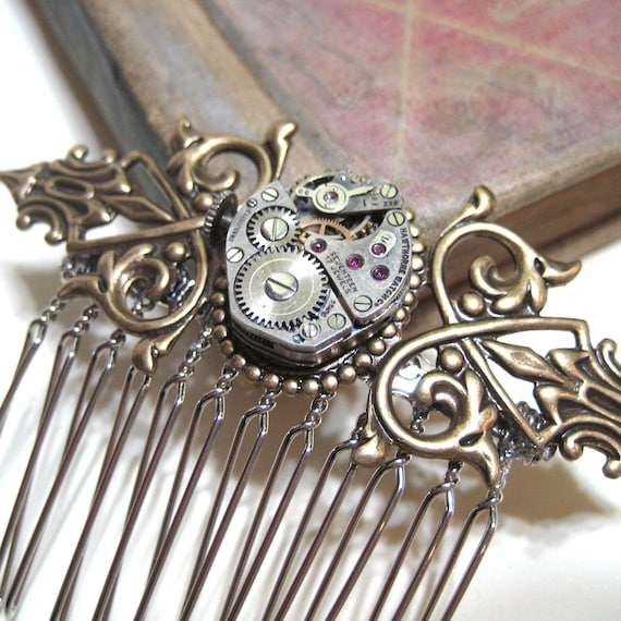Night on the Town - Vintage Watch Movement with Real Rubies Hair Comb