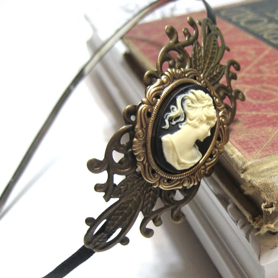Black and Cream Cameo Headband - Antiqued Brass Accents - What a Lady