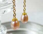 Earrings Peach Pink Pearl Drop Chain Long Dangle Gold Earrings Pearl Jewelry June