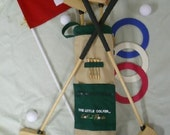 Childrens Wooden Toy Golf Clubs Bag 3 Balls Toddlers Little Golfer Set