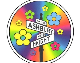 HIPPIE STICKER Haight Ashbury Street Sign with Flowers Clear Vinyl Sticker Excellent QUALITY 4.5 inch Sticker