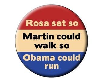 Rosa Sat Fridge Magnet - Rosa Parks Martin Luther King Obama Inspirational 2.25 inch Round Fridge Magnet