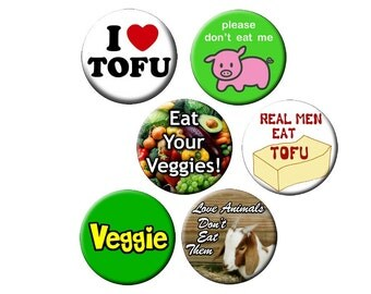 VEGETARIAN PIN-PACK-6 Small 1.25 inch BUTTONS-with a VEGETARIAN THEME - SET of 6 Small Pin-Back BUTTONS