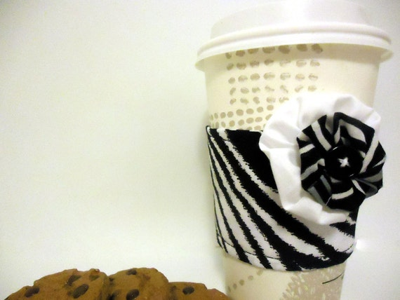 Reusable Coffee Cozy with Embellishment - Zebra Print -