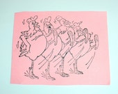 The Chicken Can-Can foam mounted Used Rubber Stamp