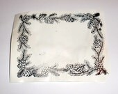 Winter Pine Cones and Greenery Border foam mounted Used Rubber Stamp