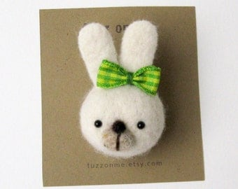 Felt animal kids brooch - needle felted white bunny head with a green and yellow plaid ribbon, small gift