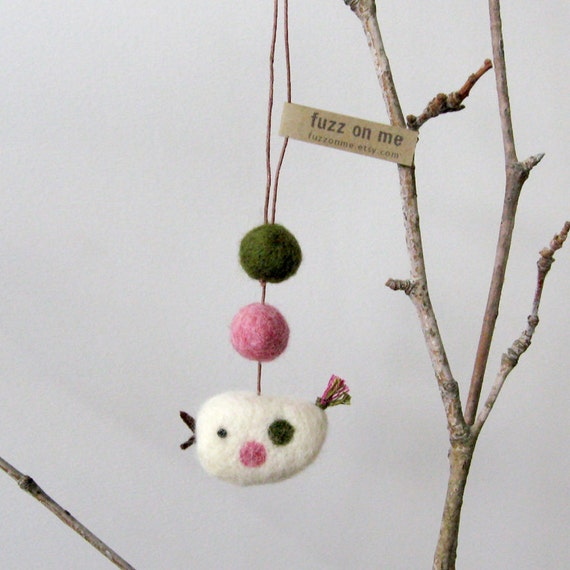 Felt bird : mini FUZZ bird with 2 felted balls - dark forest green and pink