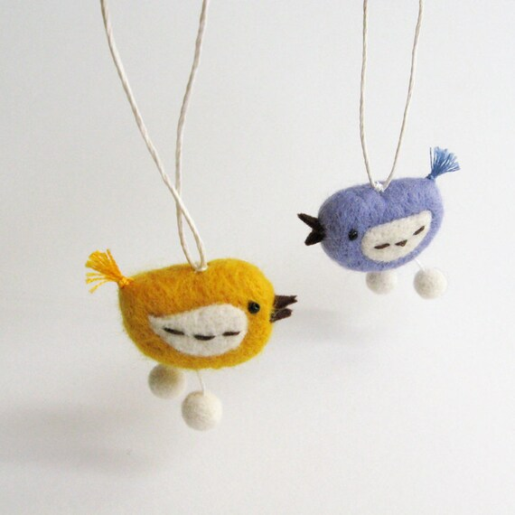 felt bird : mini FUZZ bird pair - mustard yellow and lavender