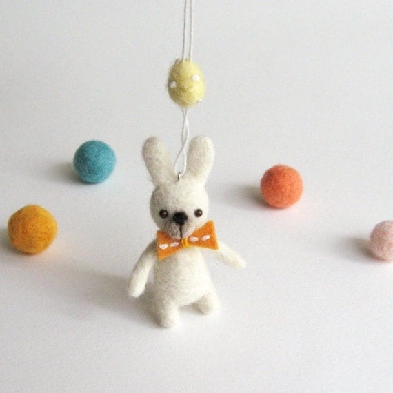 Needle felted miniature ornament : Spring bunny with an orange bow tie and a chick yellow egg
