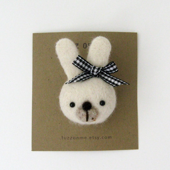 Felted animal pin brooch - FUZZ  bunny - black and white plaid ribbon