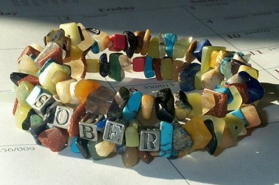 "Turquoise/Semi Precious Stone Chip Pewter ""Sober"" Beads on 3 Coil Bracelet fits all size"