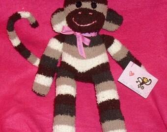 SALE  Chocolate Stripe Sock Monkey