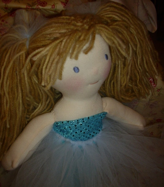 15 inch wool Waldorf doll with tulle skirt