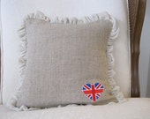 Linen velvet ruffle british flag pillow