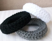 Chunky Crochet Bangles in Black, White and Gray