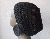 Slouchy Crochet Beanie in Dark Chocolate
