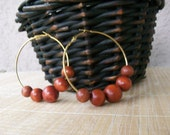 Gold Hoop Earrings with Wooden Beads