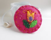 Felt ornament  - Pink felt  embroidered and beaded decoration / key or scissors fob / pincushion