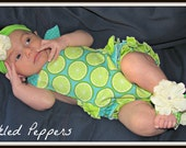 Vintage Inspired Ruffled Sunsuit Lime Fabric