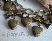 PIF - Je T'aime Heart Locket And Bow Charm Bracelet. Perfect Gift For All Occasions. Pay It Forward. LABOR DAY SaLe
