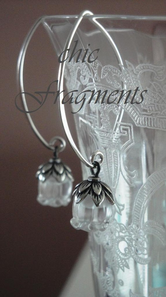 LAYAWAY For Dawna - Genuine LALIQUE MUGUET Crystal Earrings. Sterling Silver. Lily Of The Valley Flowers. Layaway No.1