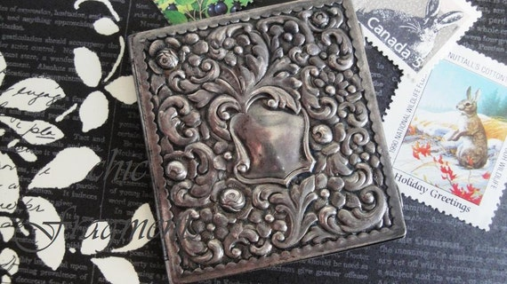 CHRISTMAS SPEClAL - VICTORIAN Antique Sterling Silver Vesta Stamp Box. Repousse Flowers. Ornate Design. PIF Pay It Forward