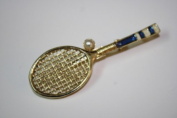 Gerrys tennis racket brooch pin by michellecollection on Etsy